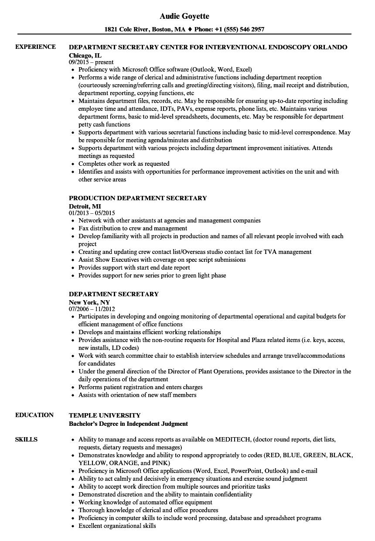Department Secretary Resume Samples  Velvet Jobs