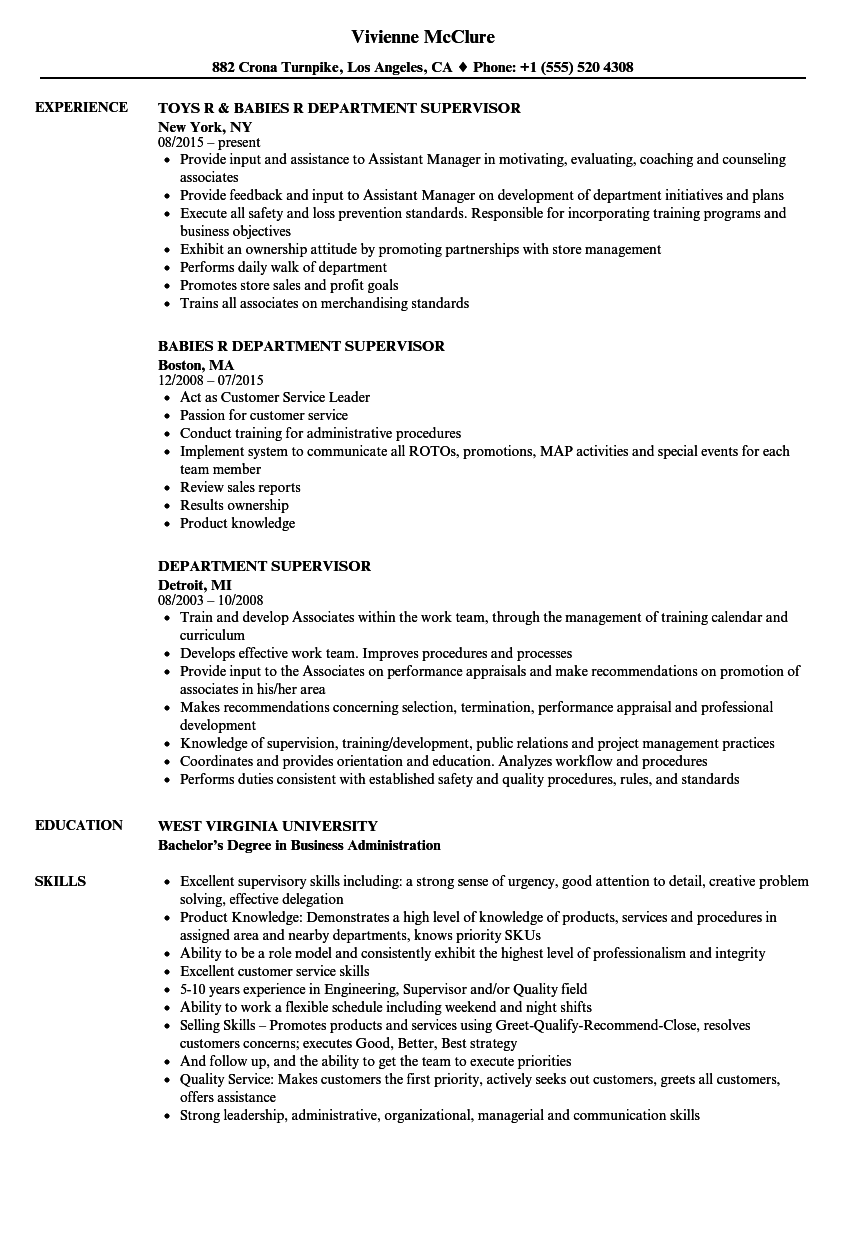 examples of production supervisor resume