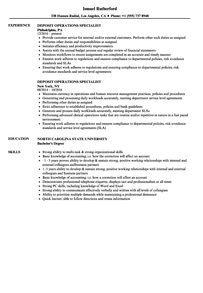 Deposit Operations Specialist Resume Samples Velvet Jobs