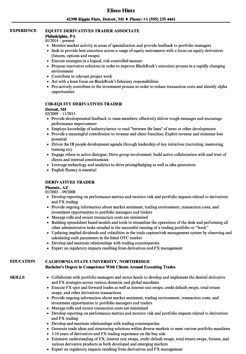 Equity Sales Trader Cover Letter