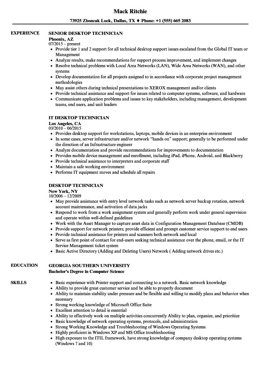 telephone technician resume sample