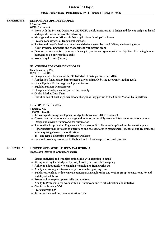 Devops Developer Resume Samples  Velvet Jobs