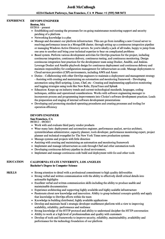 Devops Engineer Resume Samples | Velvet Jobs