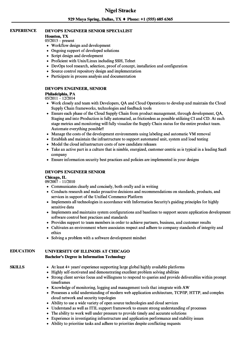 sample devops ba resume