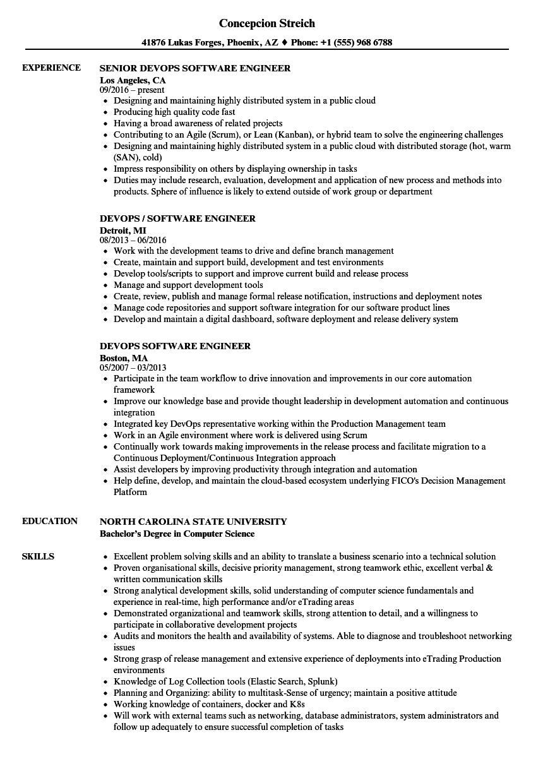 Devops Software Engineer Resume Samples  Velvet Jobs