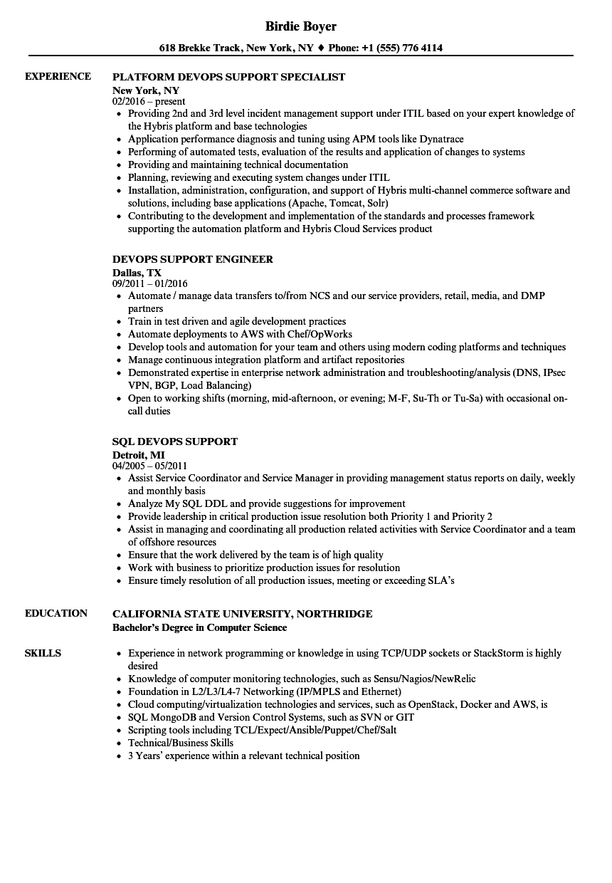 Devops Support Resume Samples Velvet Jobs