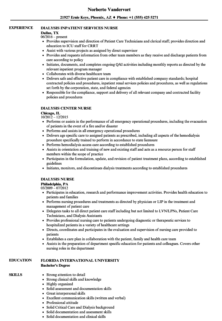sample resume for renal nurse