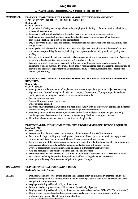 nurse resume examples resume of a nurse dialysis nurse resume sample dialysis nurse resume