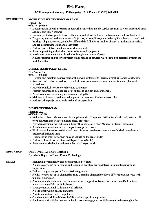 Diesel Technician Resume Resume Ideas