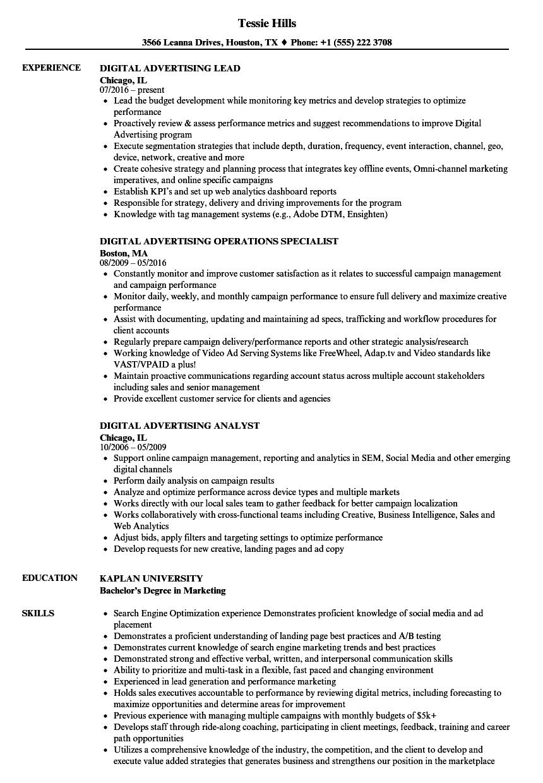 digital advertising resume sample