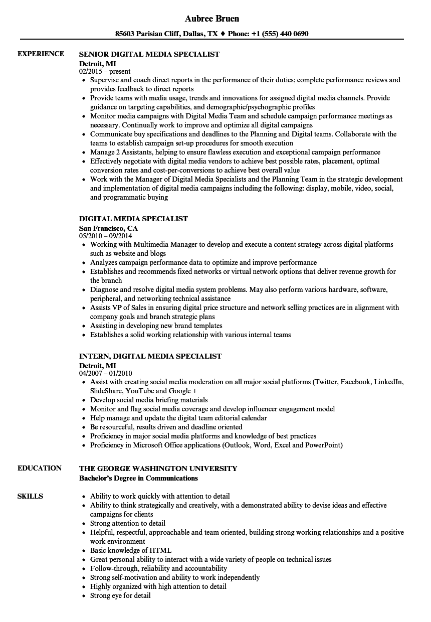 Digital Media Specialist Resume Samples Velvet Jobs