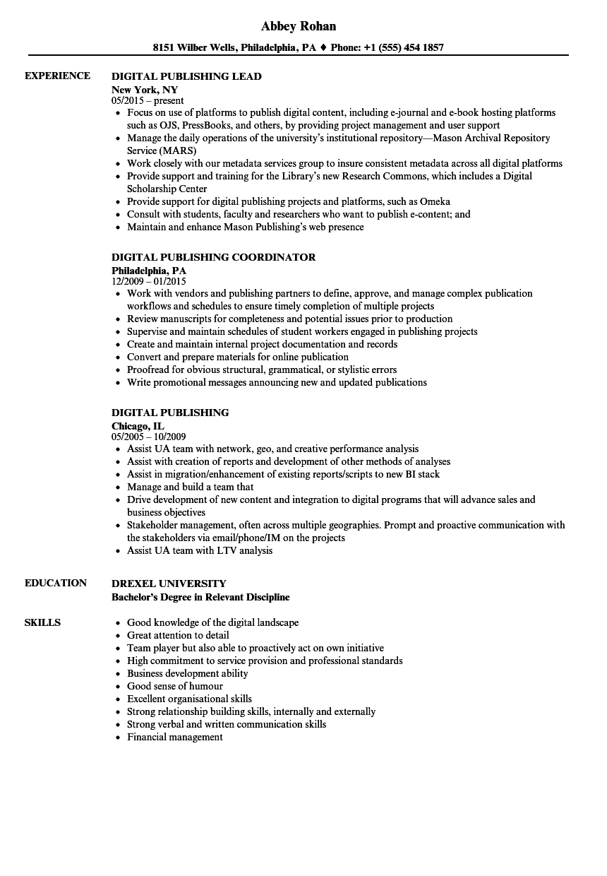 Publishing Resume Resume Ideas