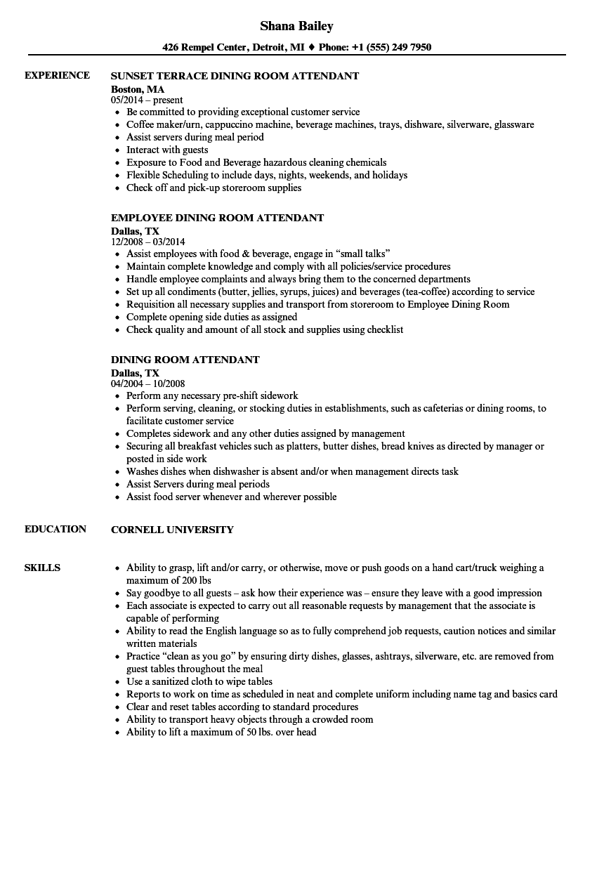 Dining Room Attendant Resume Samples Velvet Jobs