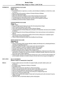 Dining Room Manager Resume Samples