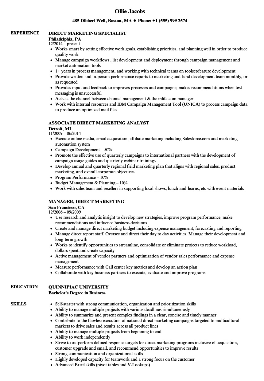 Download Direct Marketing Resume Sample As Image File