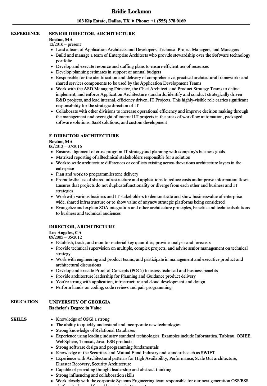 Director Architecture Resume Samples | Velvet Jobs