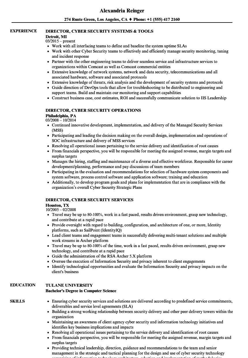 security director of operations sample resume