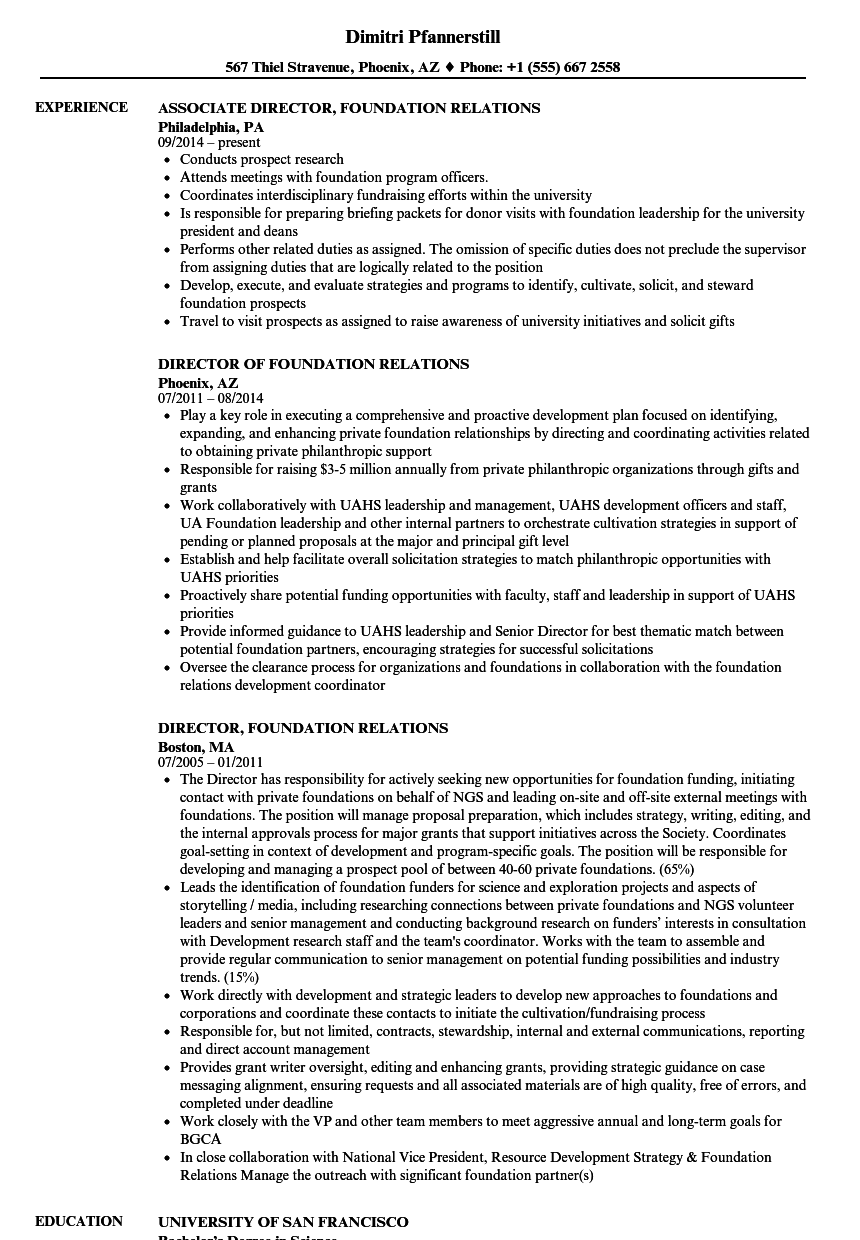 foundation resume sample