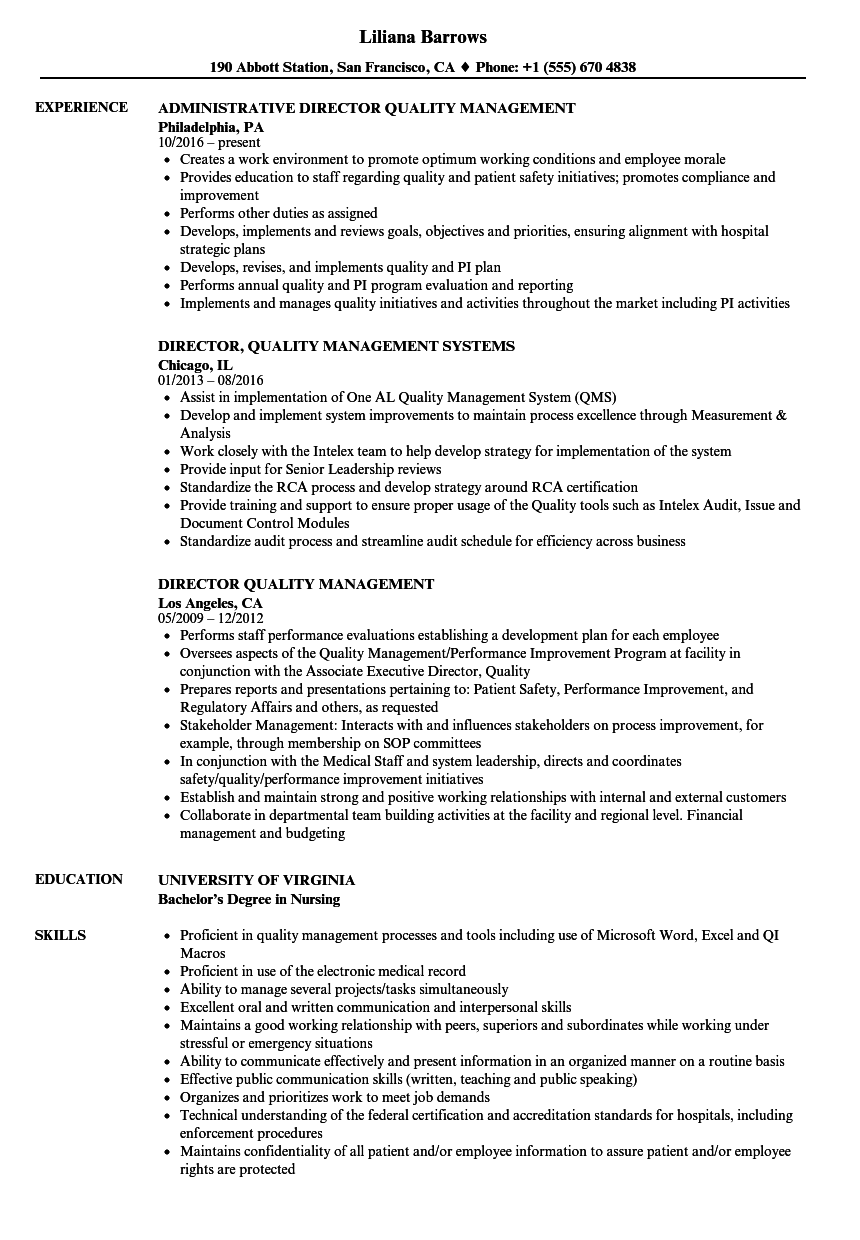 Director Quality Management Resume Samples Velvet Jobs