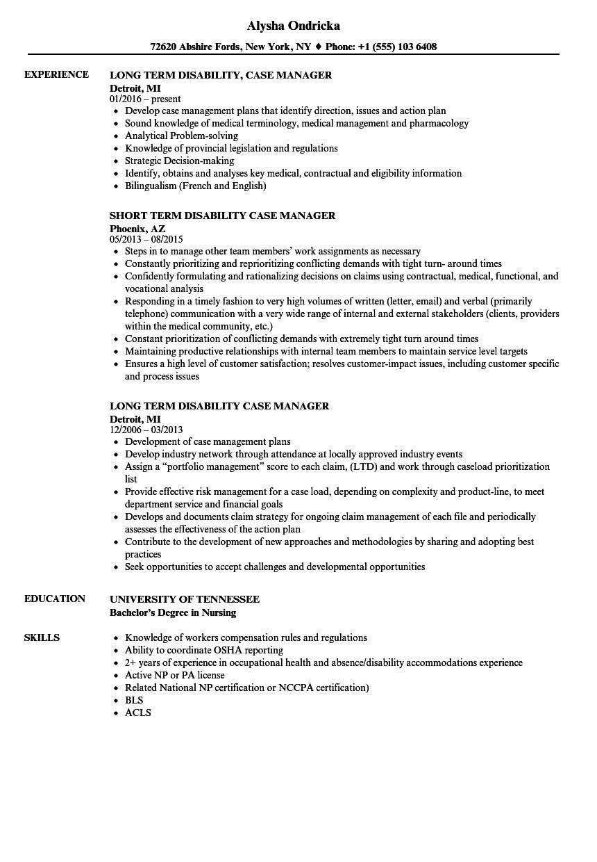 sample resume case worker for disabled