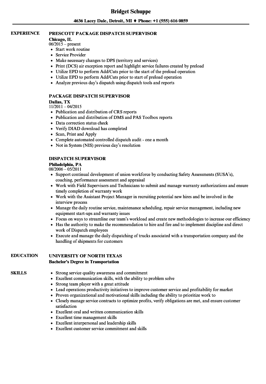resume samples for logistics supervisor