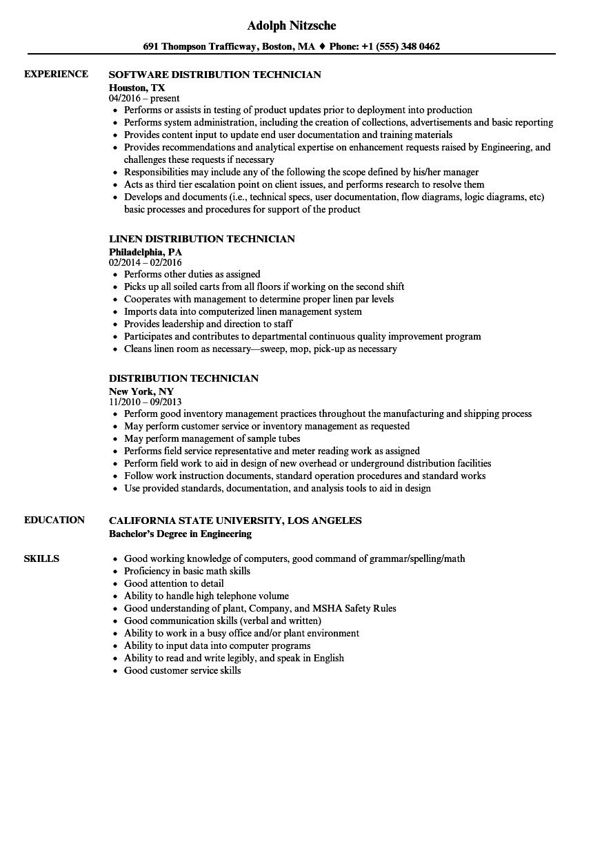 warehouse technician resume examples