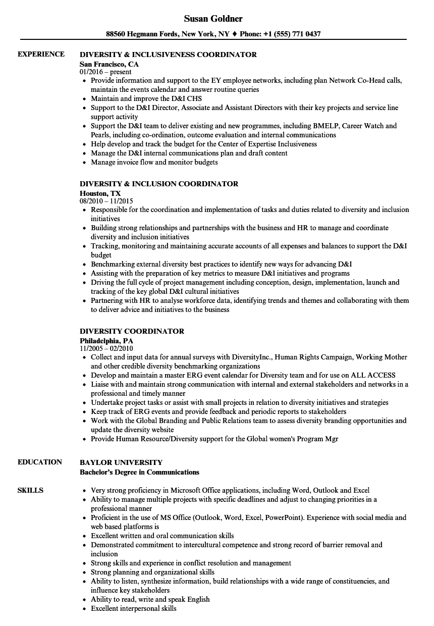 sample diversity and inclusion resume