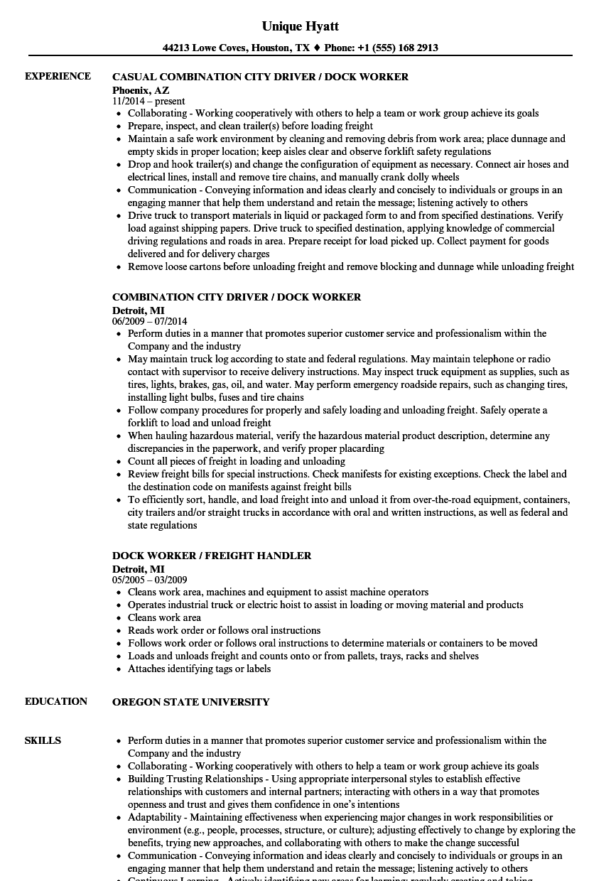 dock worker resume sample