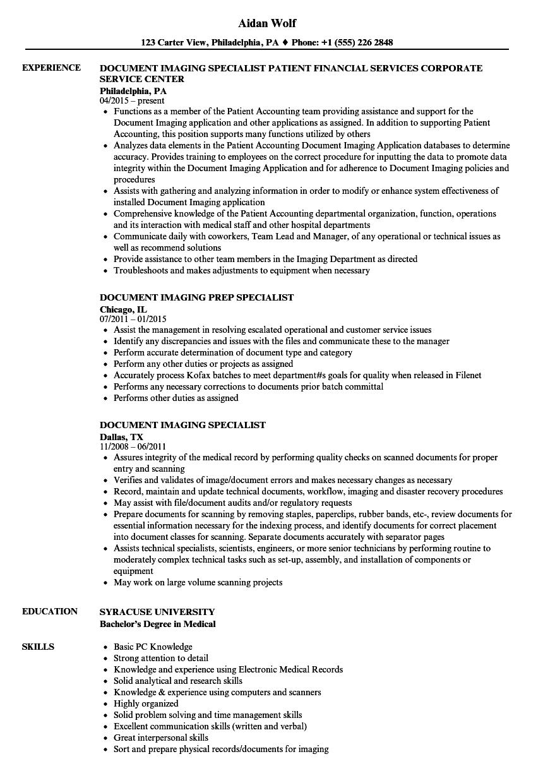 Document Imaging Specialist Resume Samples Velvet Jobs