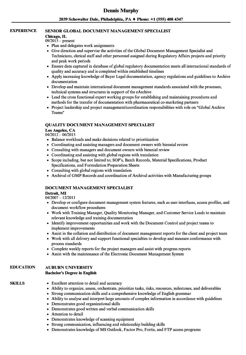 Document Management Specialist Resume Samples Velvet Jobs