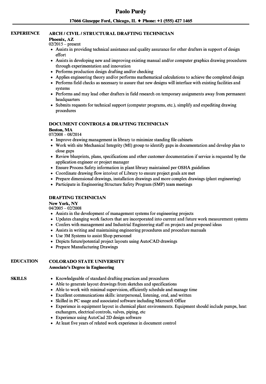 Drafting Technician Resume Samples Velvet Jobs