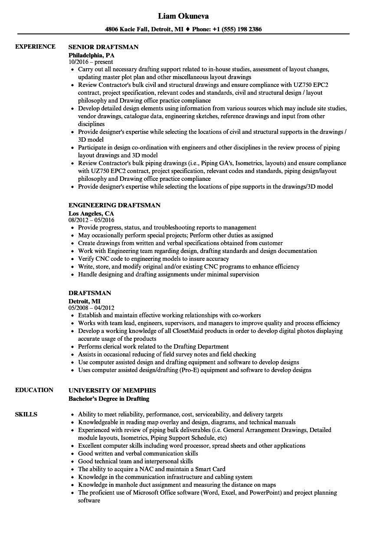 Draftsman Resume Samples Velvet Jobs
