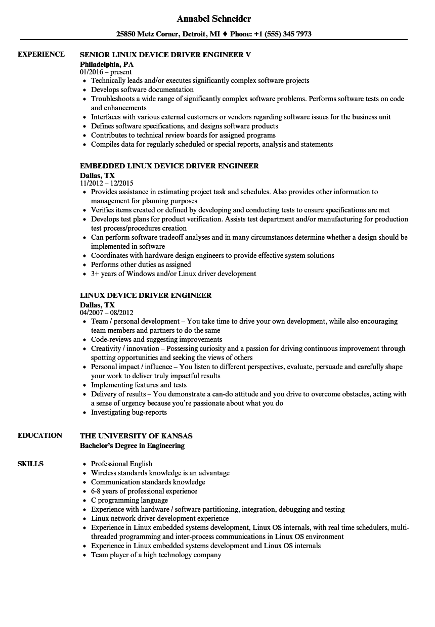 Download Driver Engineer Resume Sample As Image File