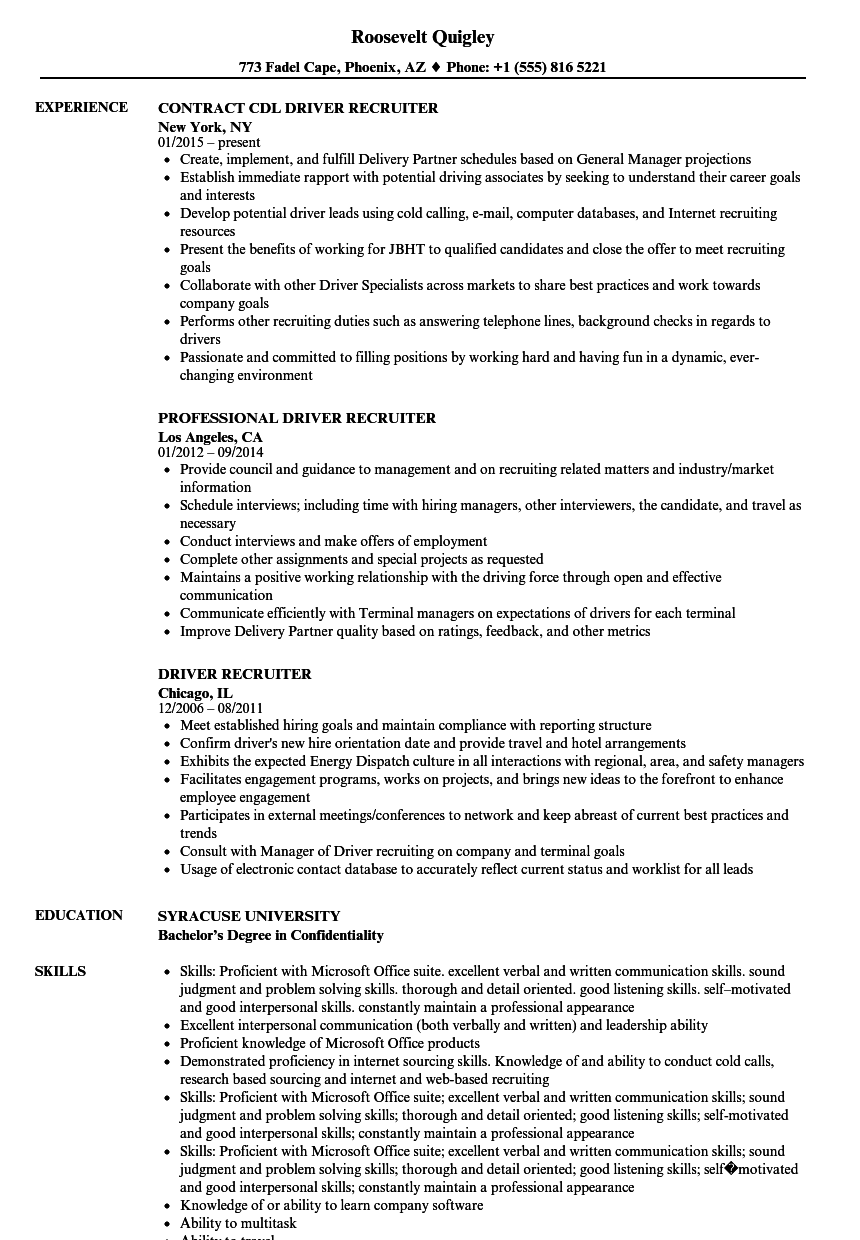 Driver Recruiter Resume Samples Velvet Jobs