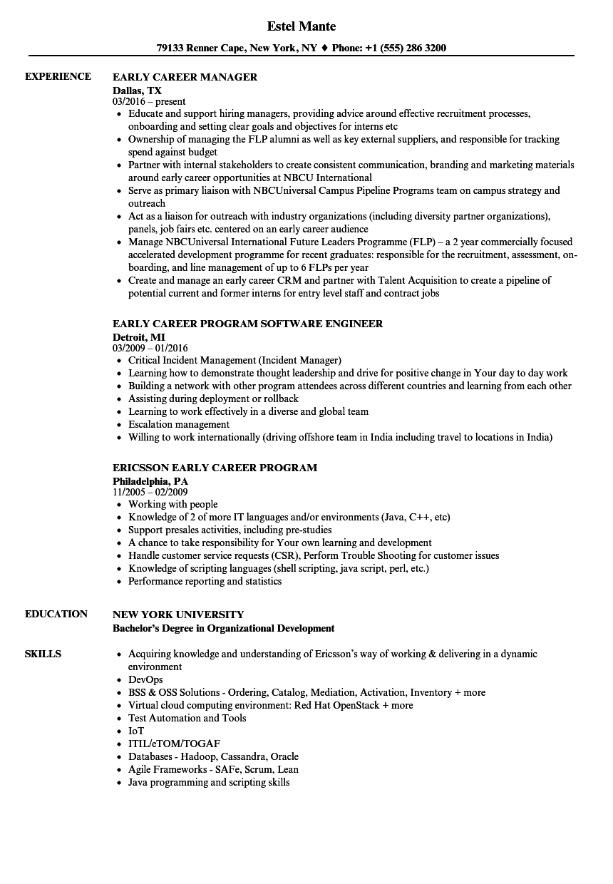 resume with skills section sample