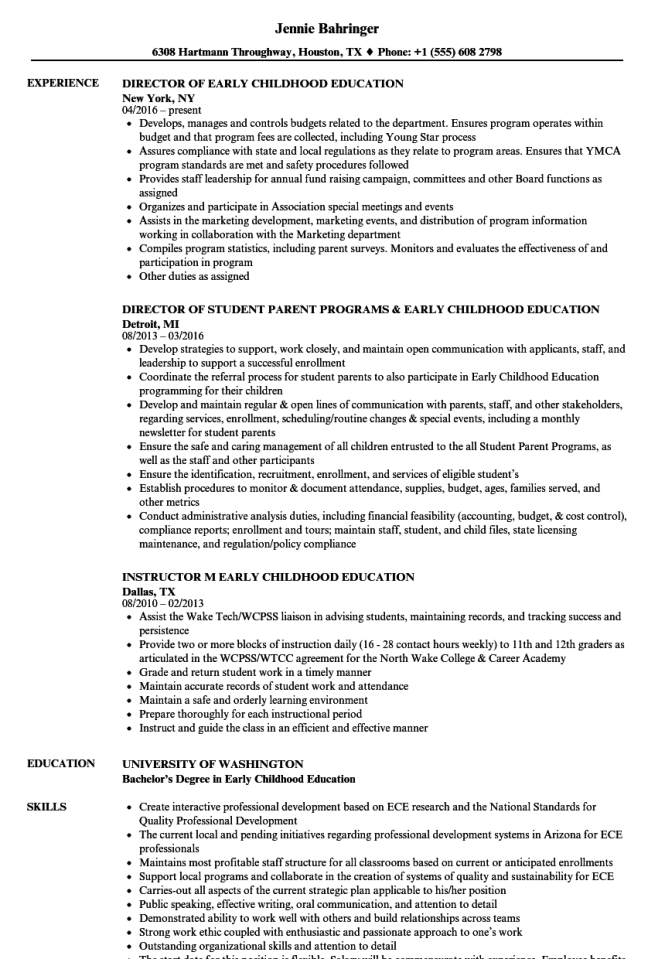 Early Childhood Education Resume Samples Resume Sample
