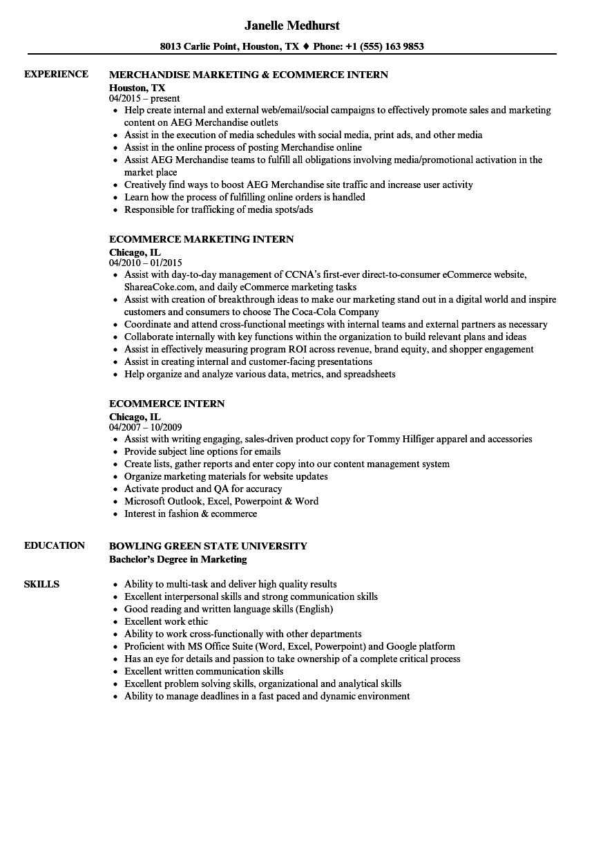 sample resume for ecommerce product manager