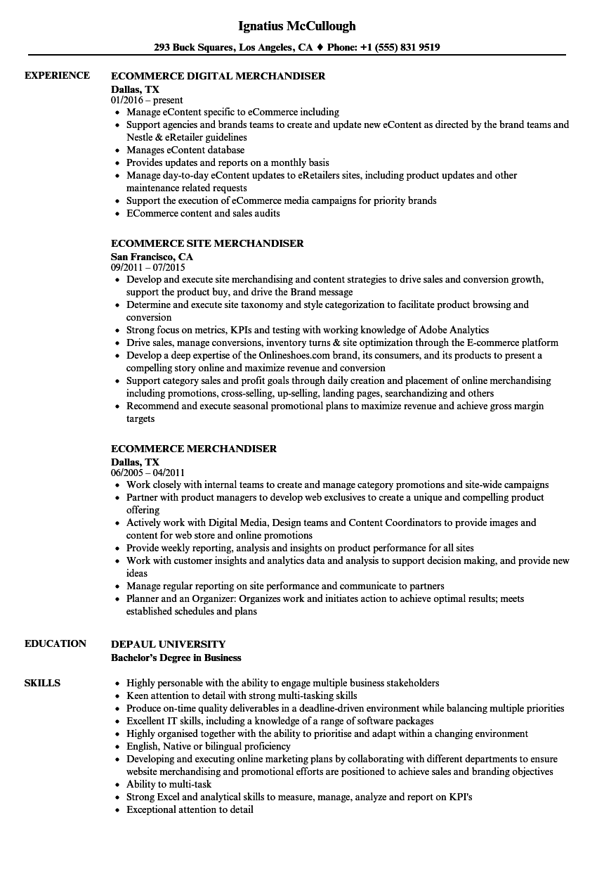 Ecommerce Merchandiser Resume Samples Velvet Jobs