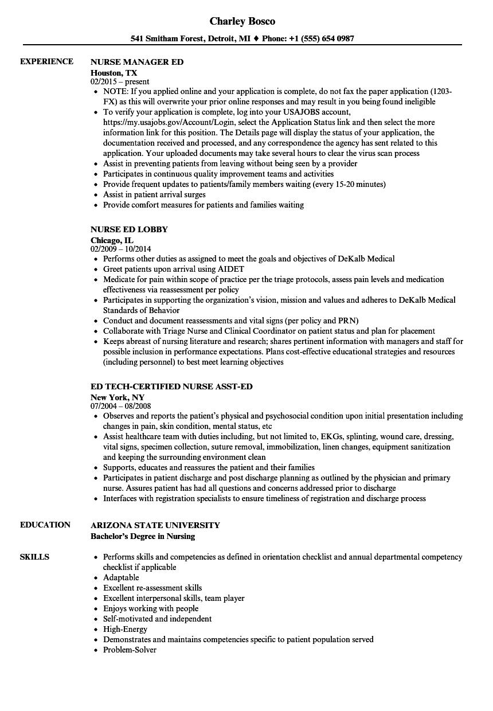 Ed Nurse Resume Samples Velvet Jobs