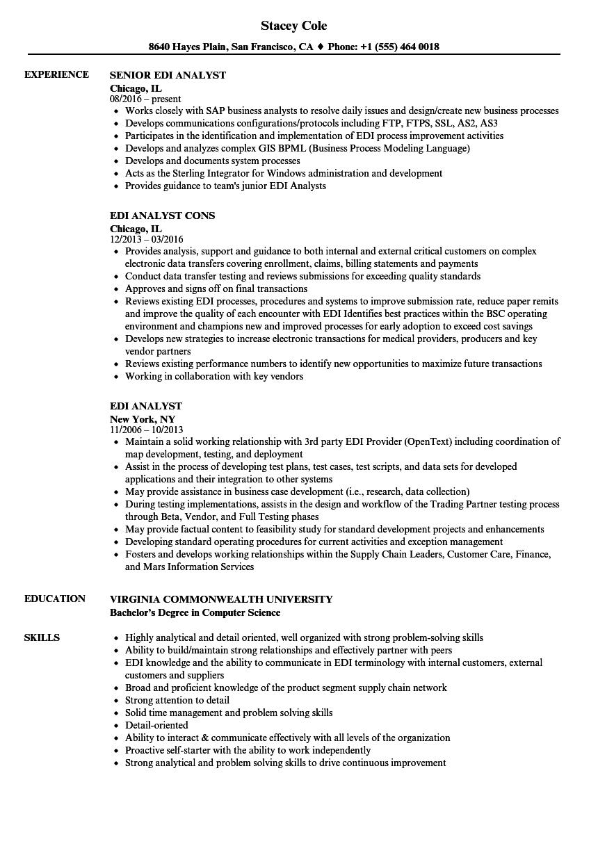 Download Edi Analyst Resume Sample As Image File