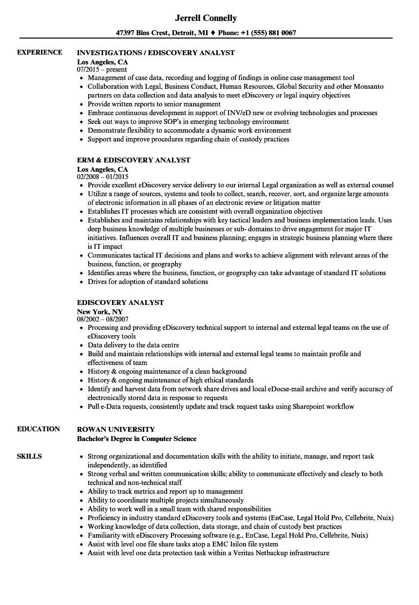 Ediscovery Analyst Resume Samples Velvet Jobs