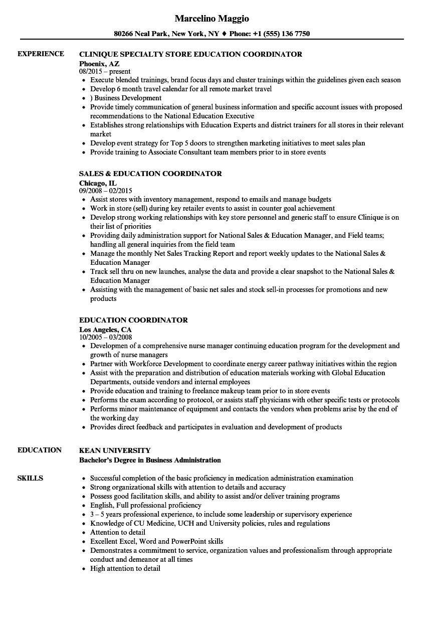 Education Coordinator Resume Samples Velvet Jobs