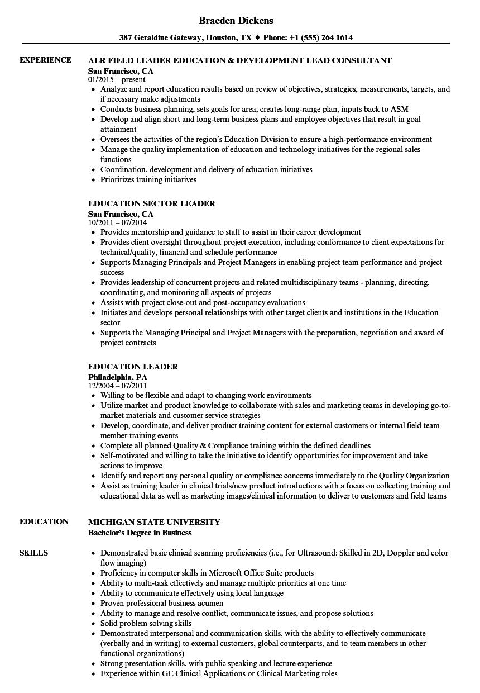 resume for education program manager
