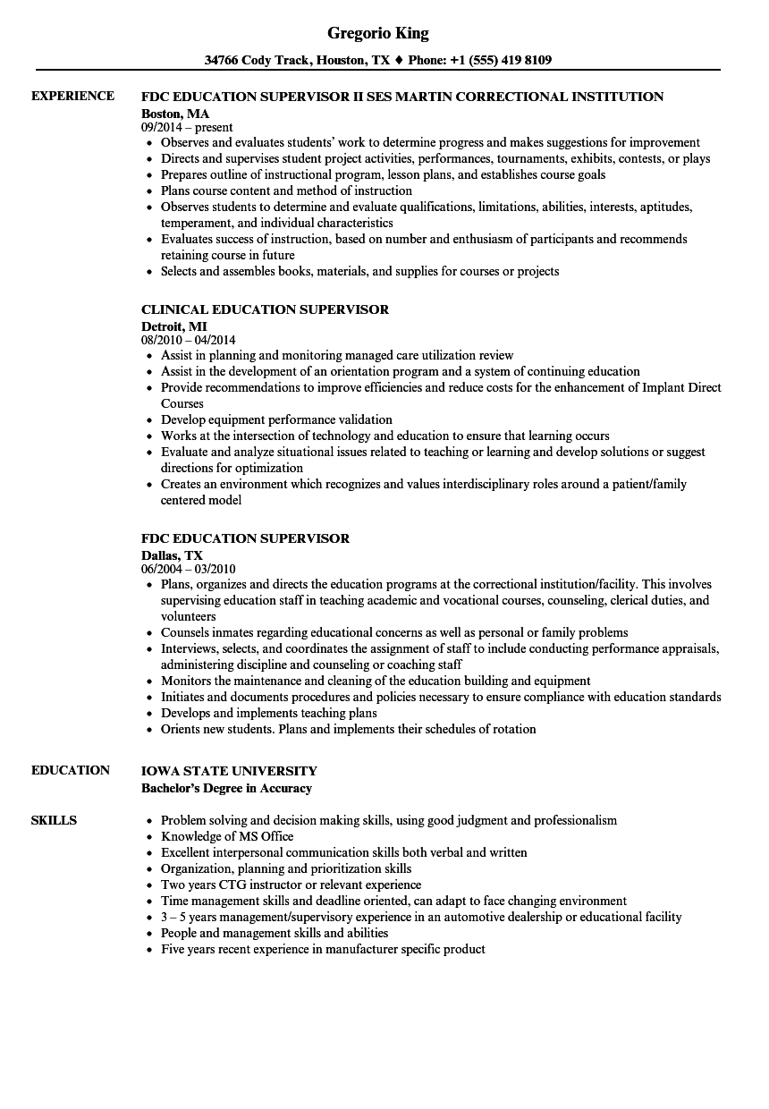 Education Supervisor Resume Samples Velvet Jobs
