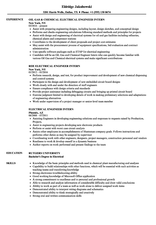 electrical engineering intern resume sample