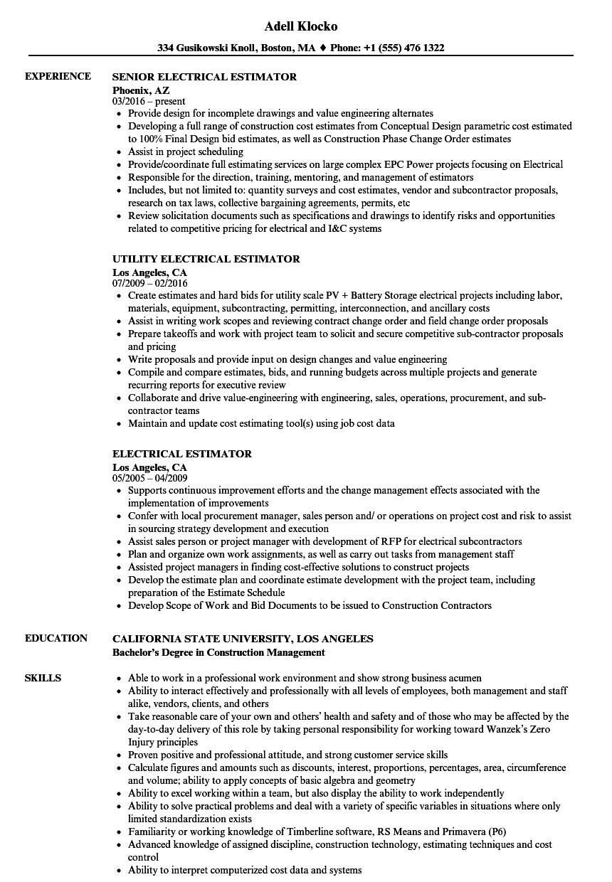 Electrical Estimator Resume Samples Velvet Jobs