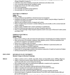 download electrical foreman resume sample as image file [ 860 x 1240 Pixel ]