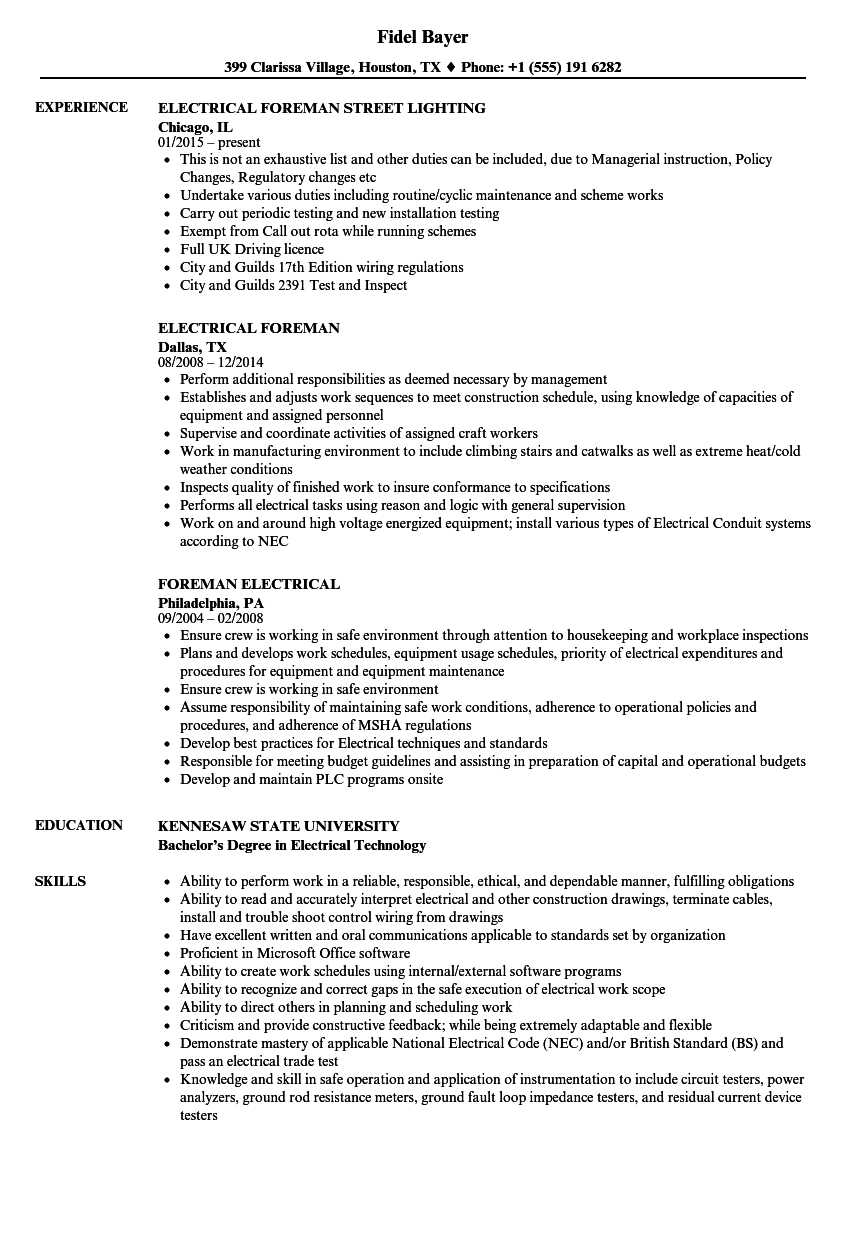 hight resolution of download electrical foreman resume sample as image file