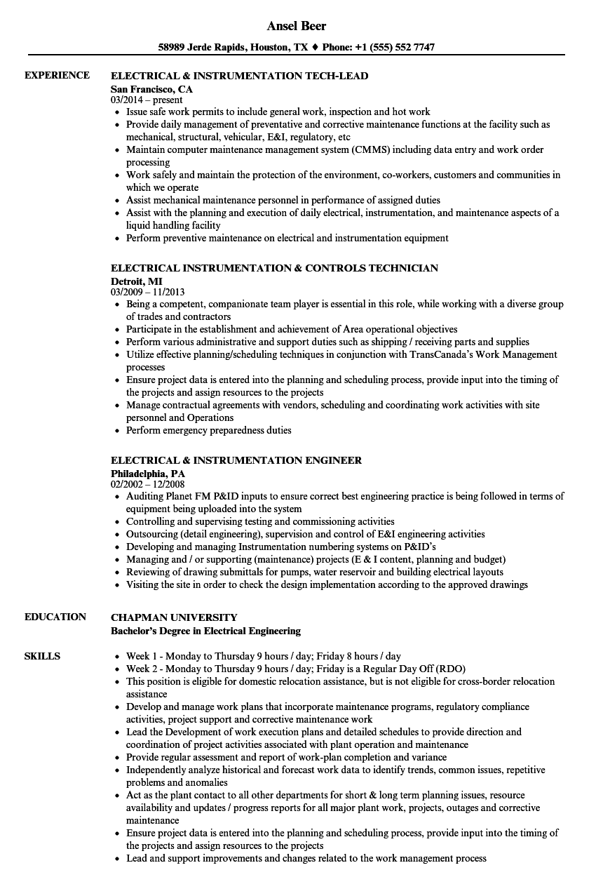 instrumentation resume sample
