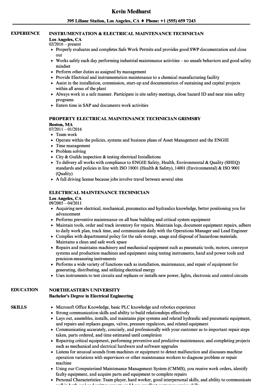 Download Electrical Maintenance Technician Resume Sample As Image File